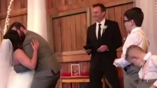 Kids add some comedy to wedding
