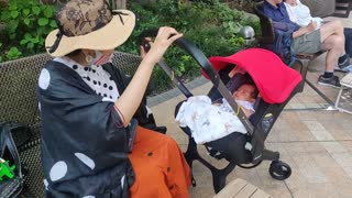 Japanese lady pushing a sleeping baby in a stroller