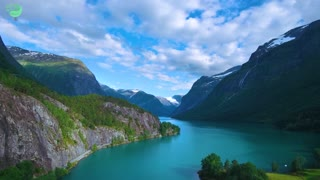 Beautiful nature norway natural landscape aerial footage lovatnet lake (2)