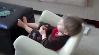 Kid falls backwards