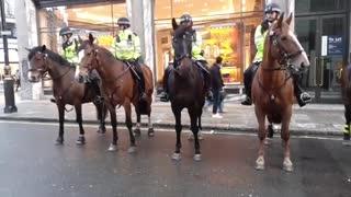 police horses anti Lock down protest London