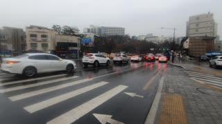 rainy Seoul South korea Video