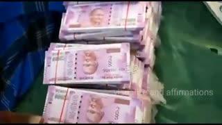 Indian money visualization,two thousand rupees money bundles,