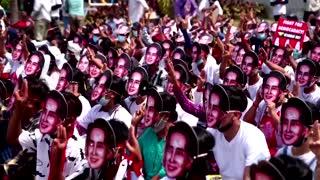 At least seven dead in Myanmar police crack down