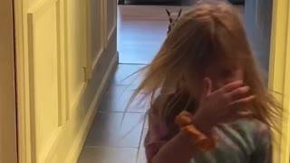 Baby Goat Plays with Kiddos Down Hallway