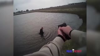 Bodycam Shows Police Chase Ends With Suspect Into Sewage Pond