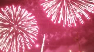 Very beautiful fireworks at night.