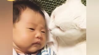 Babies & Cats Being Cute Together