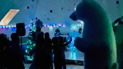 Funny bear dance at a children's party