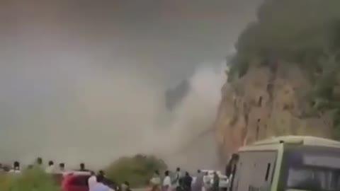The mountain fell down