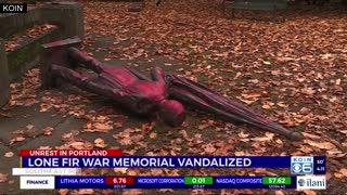 Portland War Memorial Statue Toppled in Lone Fir Cemetery