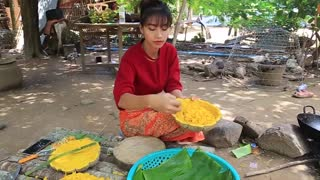 Primitive Technology_ Cooking skill dessert Cake Khmer recipe_Cooking skills _Khmer Survival Skills