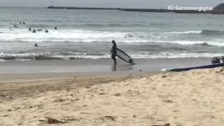 A man dragging a surf board on the beach