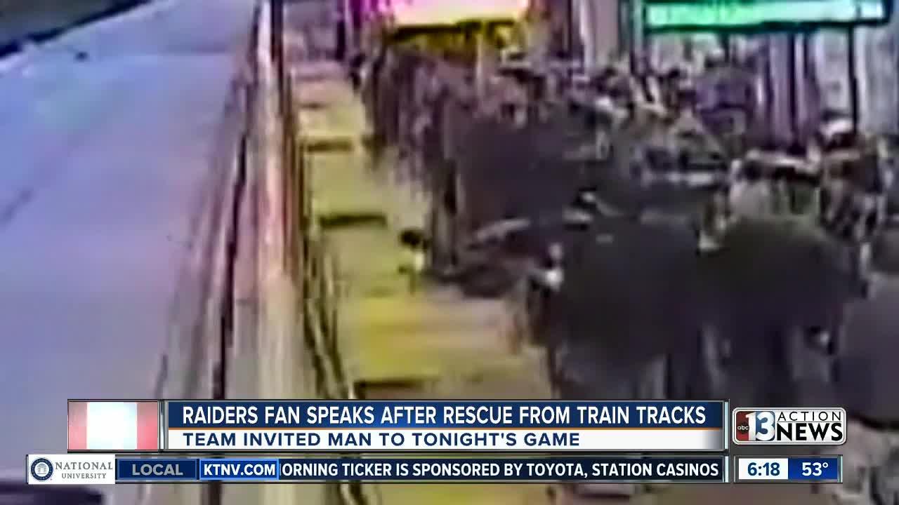 Raiders fan almost hit by train