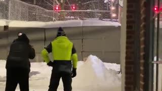 ANTIFA/BLM block police with SNOW