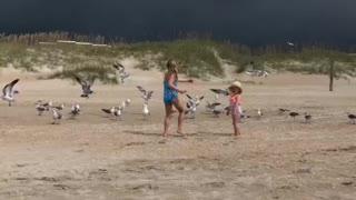 Feeding seagulls Atlantic Beach, NC