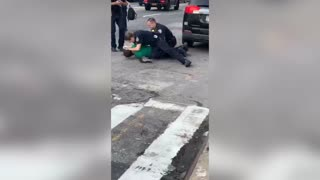 Cops tackle knife-wielding thug