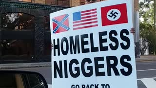 Black American Has Special Message For Racist Man Carrying Hateful Corner Sign