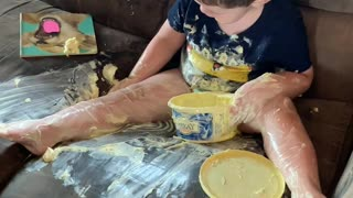 Toddler Makes a Buttery Mess