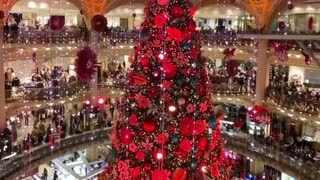 Shopping mall in Paris displays breathtaking Christmas decorations
