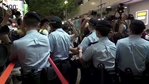 Scuffles as Hong Kong locks down Tiananmen vigil park