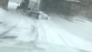 Drifting Semi in Questionable Weather