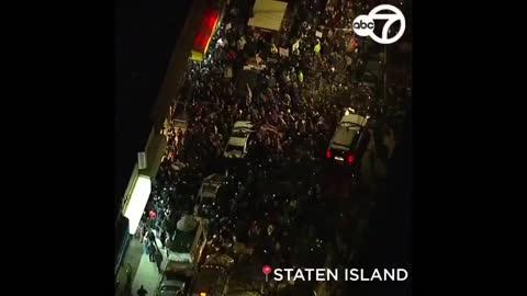 Anti-lockdown protest outside Mac's bar Staten Island New York