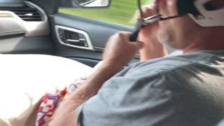 Dad Wears Softball Helmet When Mom Drives