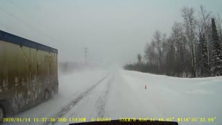 Scary Log Truck Near Miss in the Snow