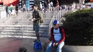 Street preacher in action on the Las Vegas Strip.