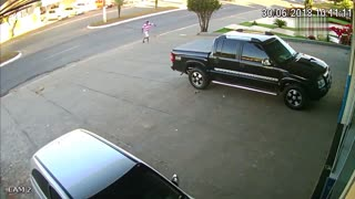Pedestrian Has Close Call with Unhitched Trailer