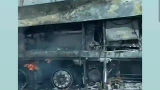 Passenger bus burned down in Ukraine