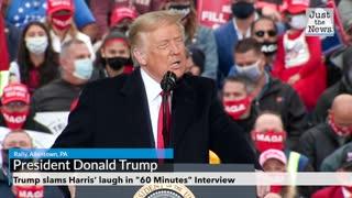 "Trump slams Harris' laugh in ""60 Minutes"" Interview"