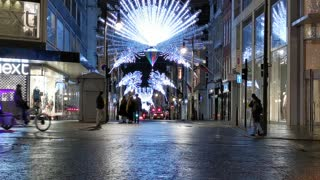Photo Shots Of A Christmas Lights Filled Street