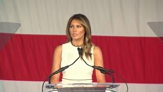 Melania Trump accepts the Palm Beach Atlantic University's 2020 Woman of Distinction award