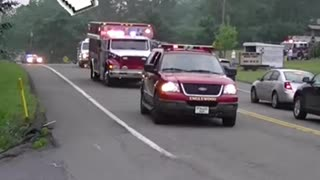 look at a beautiful parade of firefighters