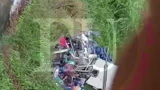 Accidente de bus en puente de Gambote