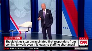 Audience CLAPS for Biden's INSANE Call for the Firing of Unvaxxed First Responders