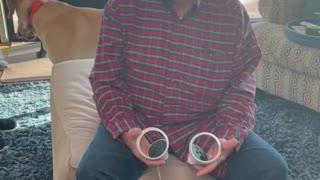 Dad uses Virtual Reality Goggles