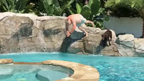 Synchronized diving with Chester!
