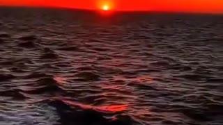 Evening Sunset View across the Open Ocean