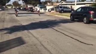 Boy white shirt skateboard falls off slides