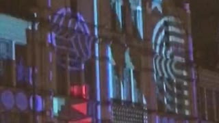 incredible hologram on the building