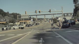 Car Launches Into Traffic After Leaving Lane