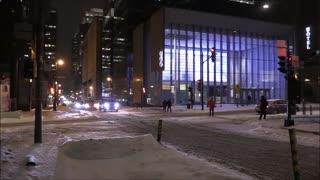Night Street View During Snow
