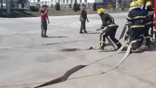 Firefighters training.