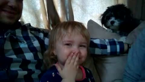 Toddler discovers ability to make fart noises