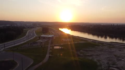 Drone view sunset