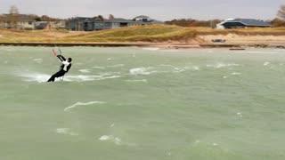 Kite Surfing Huge Waves Hit New Buffalo, Michigan Beaches