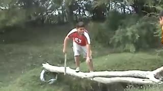 A Spanish boy falls into water